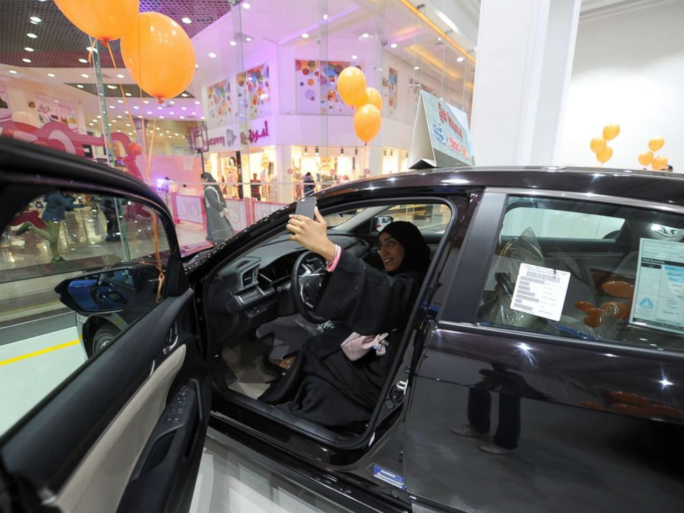 PHOTO: A woman takes a selfie while sitting in a vehicle at a car showroom for women on Jan. 11, 2018, in the Saudi Red Sea port city of Jeddah.