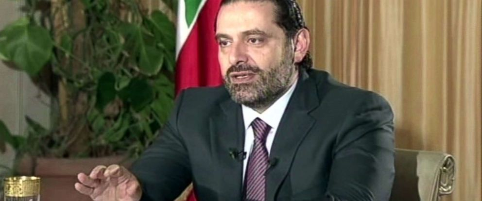 """PHOTO: Lebanons Prime Minister Saad Hariri gives a live TV interview in Riyadh, Saudi Arabia, Nov. 12, 2017, saying he will return to his country """"within days."""""""