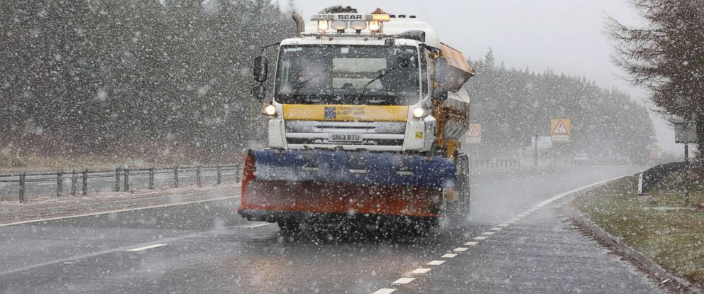 PHOTO: A snowplough on the A9 near Inverness where Blizzards are being blown by 90mph winds, Dec. 7, 2017, Scotland, U.K.