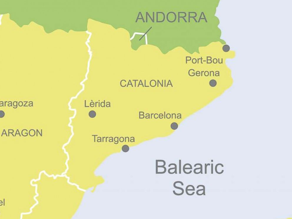 PHOTO: Detailed map of Spain showing Catalonia.