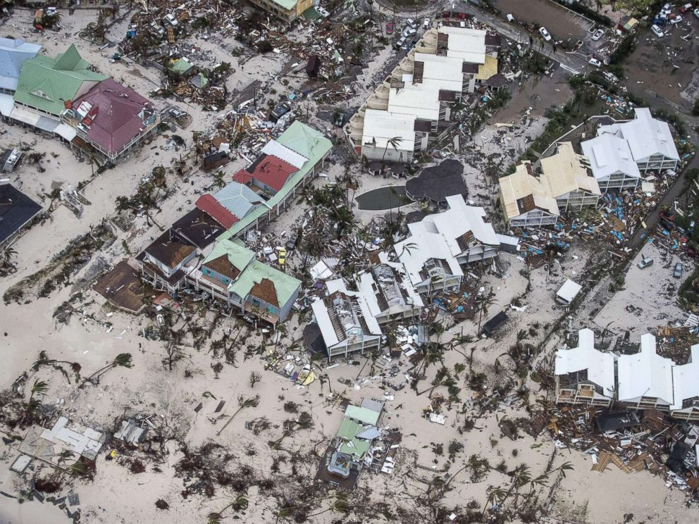 PHOTO: An aerial photography taken and released by the Dutch department of Defense, Sept. 6, 2017, shows the damage of Hurricane Irma in Philipsburg, on the Dutch Caribbean island of Sint Maarten.