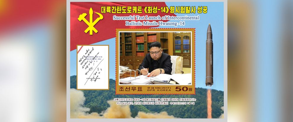 """PHOTO: A new stamp issued in commemoration of the successful test launch of the """"Hwasong-14"""" intercontinental ballistic missile is seen in this undated photo released by North Koreas Korean Central News Agency in Pyongyang, Aug. 8, 2017."""