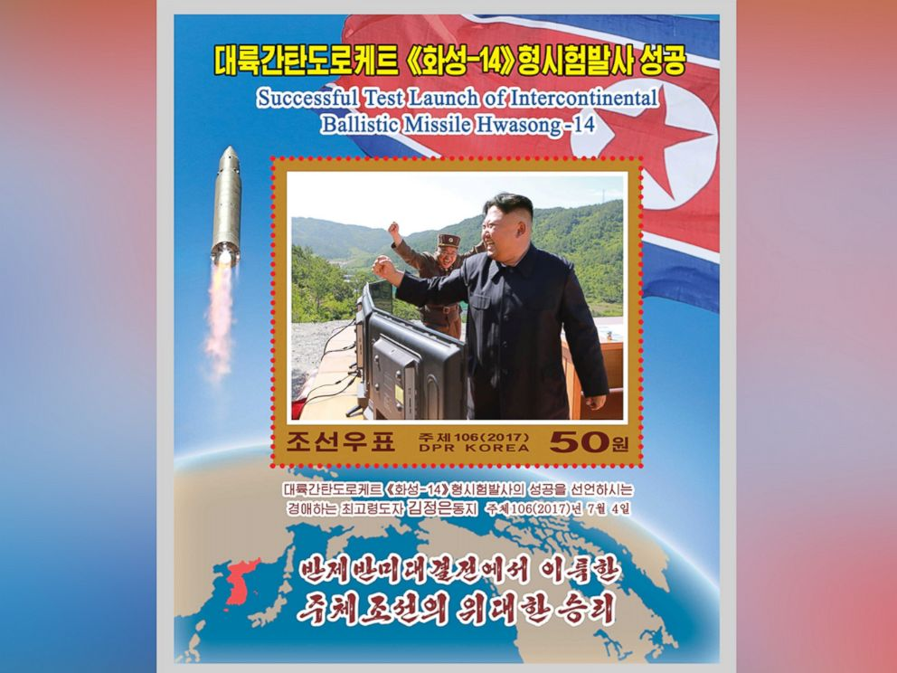 PHOTO: A new stamp issued in commemoration of the successful test launch of the Hwasong-14 intercontinental ballistic missile is seen in this undated photo released by North Koreas Korean Central News Agency in Pyongyang, Aug. 8, 2017.