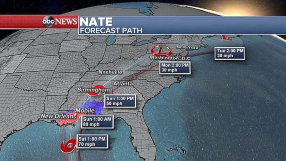 PHOTO: Tropical Storm Nate updated forecast path.