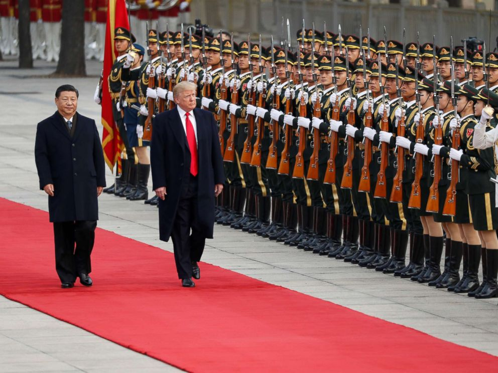 PHOTO: President Donald Trump arrives for a welcoming ceremony with Chinas President Xi Jinping in Beijing, Nov. 9, 2017.