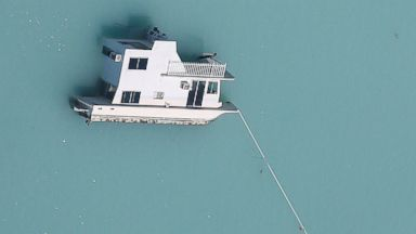 PHOTO: A sunken boat is pictured in an aerial photo in the Keys in Marathon, Fla., Sept. 13, 2017.