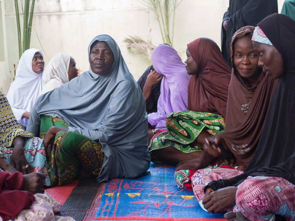 PHOTO: Some members of the Future Prowess Widows Association sit in the courtyard of the Future Prowess Islamic Foundation School in Maiduguri, Borno State, Nigeria, May 17, 2017.