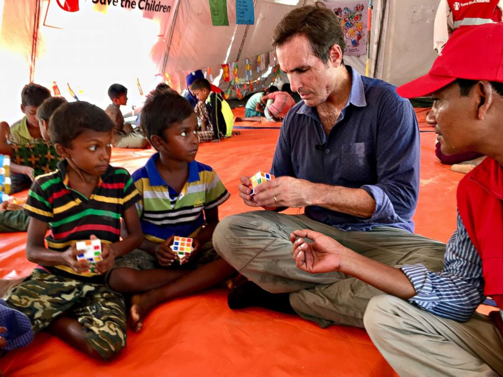 PHOTO: ABC News Bob Woodruff plays with Rohingya children at one Save the Children site in Bangladesh. Mark Pierce, Save the Childrens country director for Bangladesh, not shown, told ABC News the Rohingya crisis was really a childrens crisis.