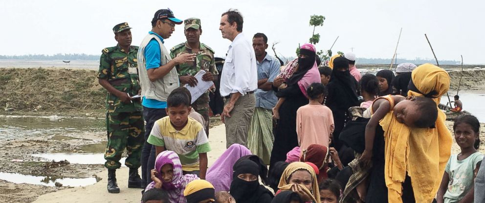 PHOTO: ABC News Bob Woodruff speaks with Bangladesh border guards at Shah Porir Dwip Island. Thousands of Rohingya cross into Bangladesh at the island after leaving Myanmar.
