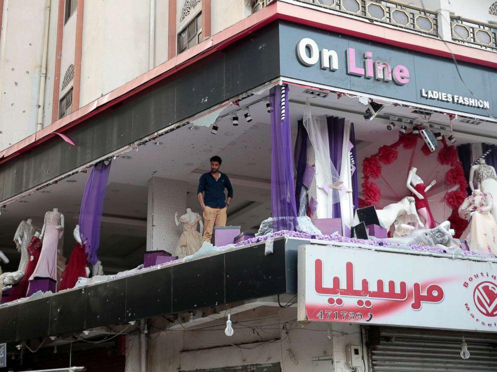 PHOTO: A Yemeni man inspects his damaged store near the residence of Yemens former President Ali Abdullah Saleh in Sanaa, Yemen, Dec. 4, 2017.