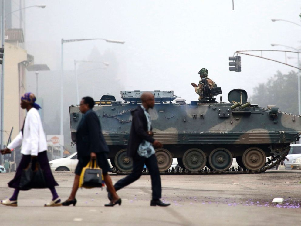 PHOTO: An armed soldier patrols a street in Harare, Zimbabwe, Nov. 15, 2017.