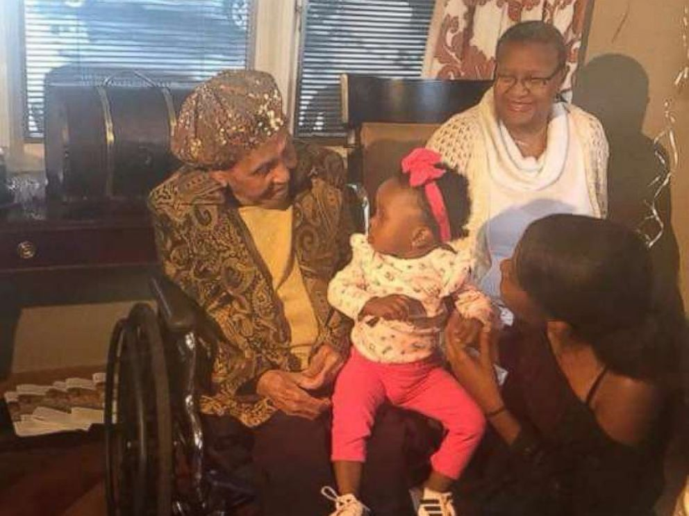 PHOTO: Lena Hall of Louisville, Kentucky celebrated her 105th birthday on Sunday with great-great-great-granddaughter, Taliyah.