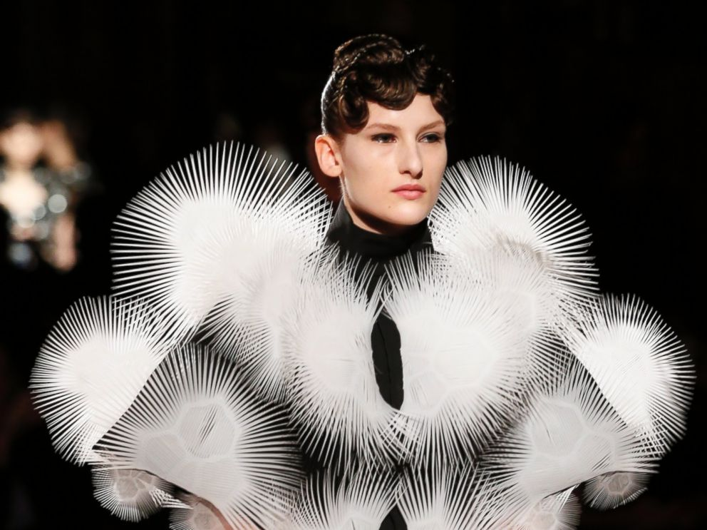 PHOTO: A model presents a creation by Dutch designer Iris Van Herpen during the Haute Couture Spring-Summer 2013 collection show in Paris.