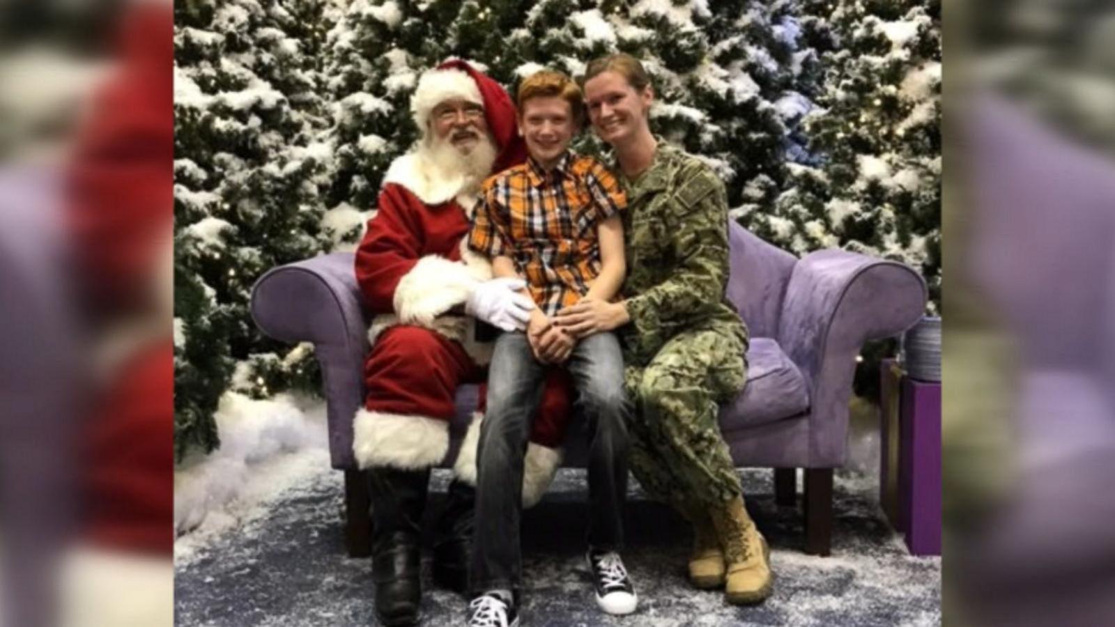 Petty Officer Julie Workman surprised her son Dylan home from deployment at SouthPark Mall in Strongsville, Ohio.