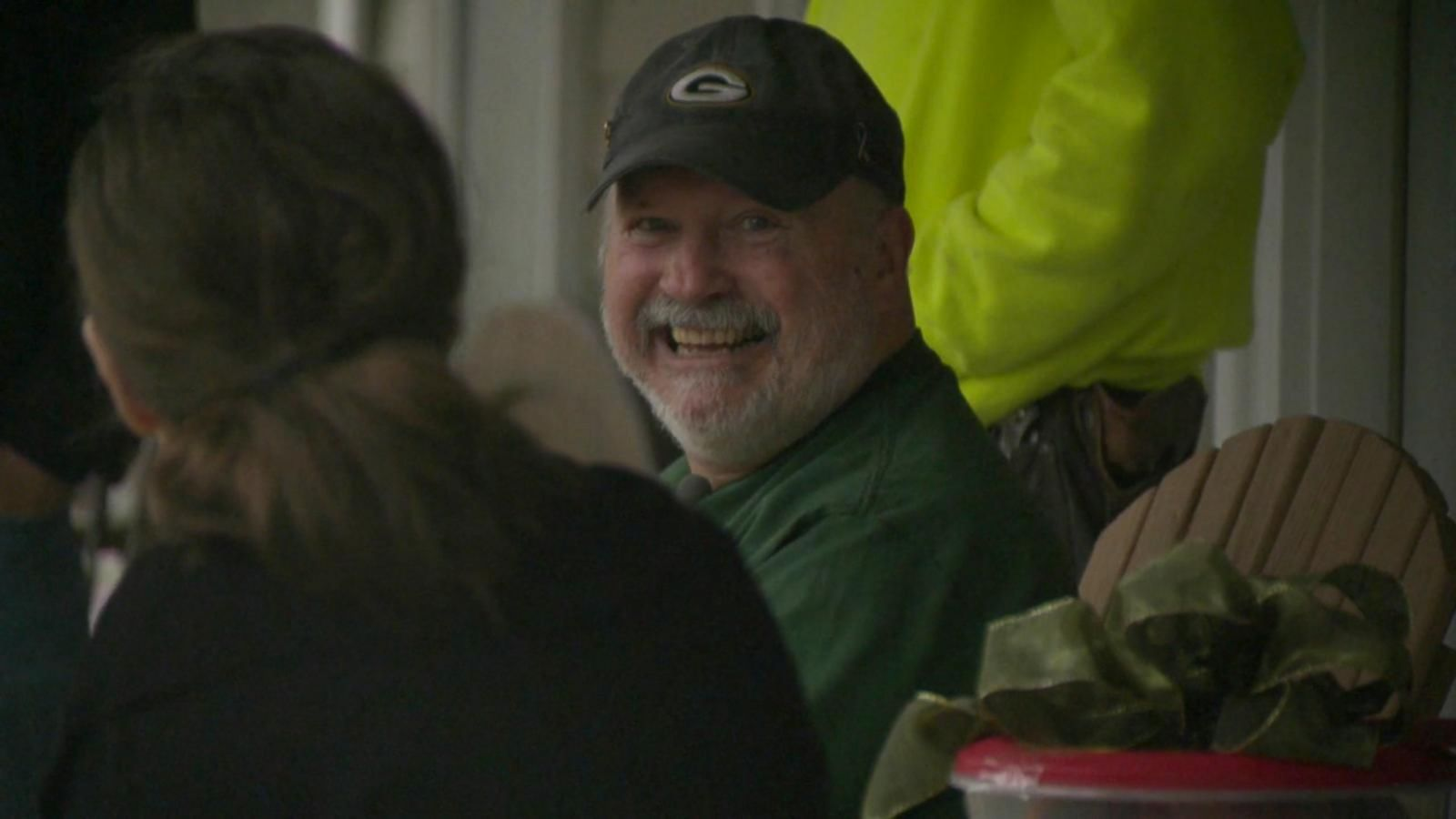 Rich Nowakowski, of Hartland, Wisconsin, was shocked when the construction crew near his house gifted him with Packers tickets, $400 in cash and special team gear.