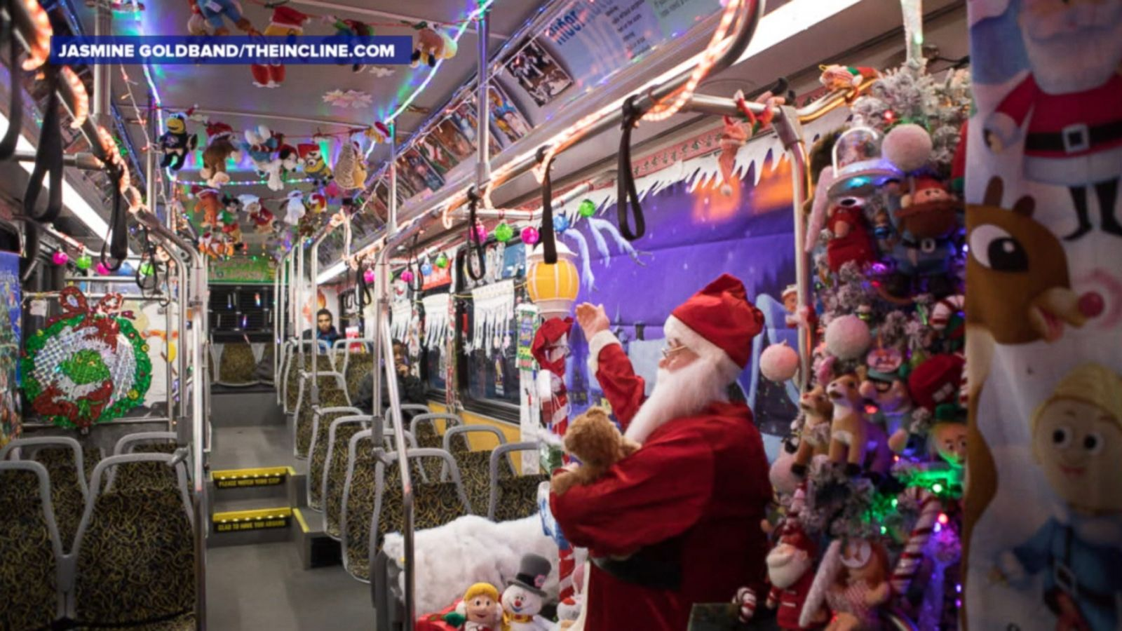 Driver Bill Sanfilippo elaborately decorates his city bus to spread holiday cheer along his route in Pittsburgh.