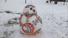 Tony Francis, of Highland, Utah, spent two hours working on this picture-perfect BB-8 snowman with his daughter.