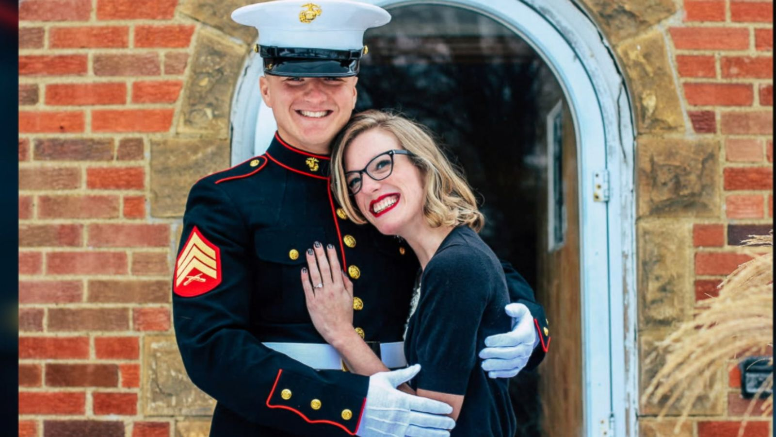 Jon Trommer, a Marine, surprised his girlfriend, Mandy Wehe, by popping the question on her snowy doorstep.