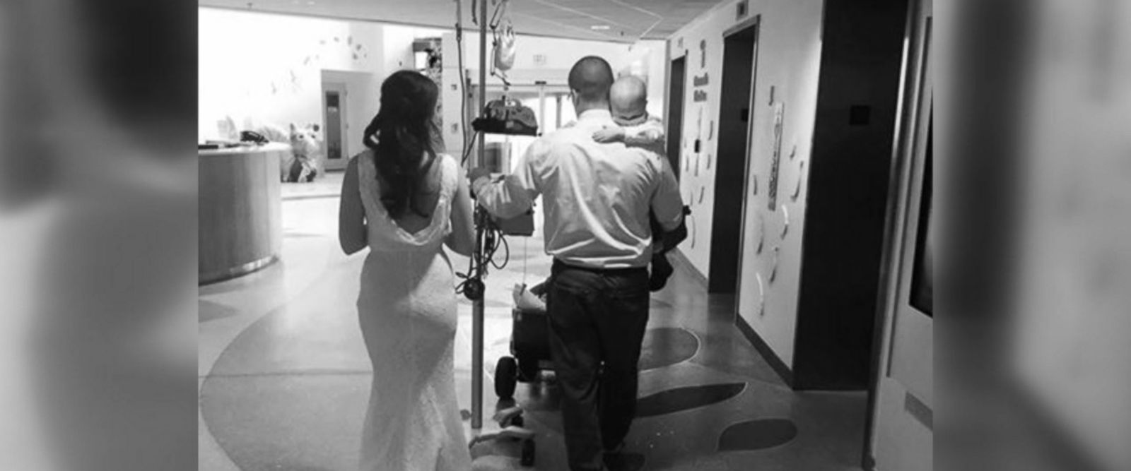 Celia Kinzel, 26, and Geff Kinzel, 32, wed in the chapel of Nationwide Children's Hospital in Columbus, Ohio, where their son Logan, 2, is a patient.