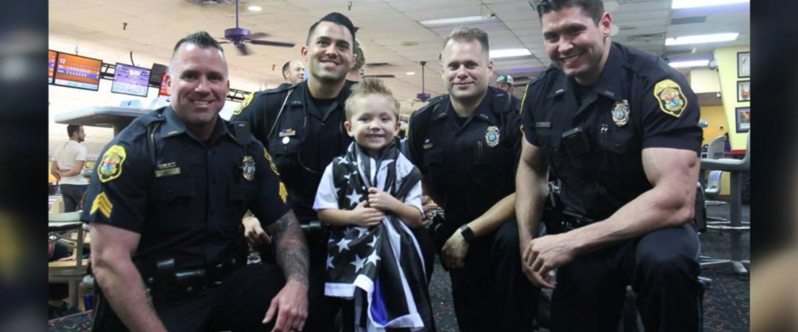 Brody Barnaky, 4, was surprised by four uniformed officers of the Clearwater Police Department at his Jan. 22 police-themed birthday party in Florida.