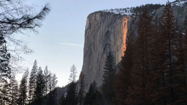 Stunning time lapse video captures a rare 'firefall' at Horsetail Fall at Yosemite National Park. For about 10 days each February, the waterfall is lit up when the sun sets at a specific angle.