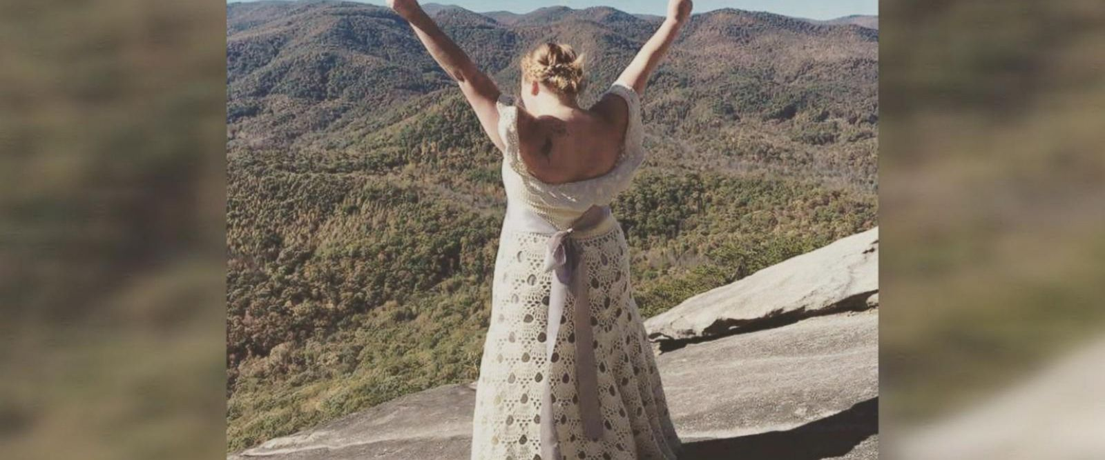 Clara Orland got married on top of Looking Glass Rock in North Carolina in her DIY gown that took four months to make.