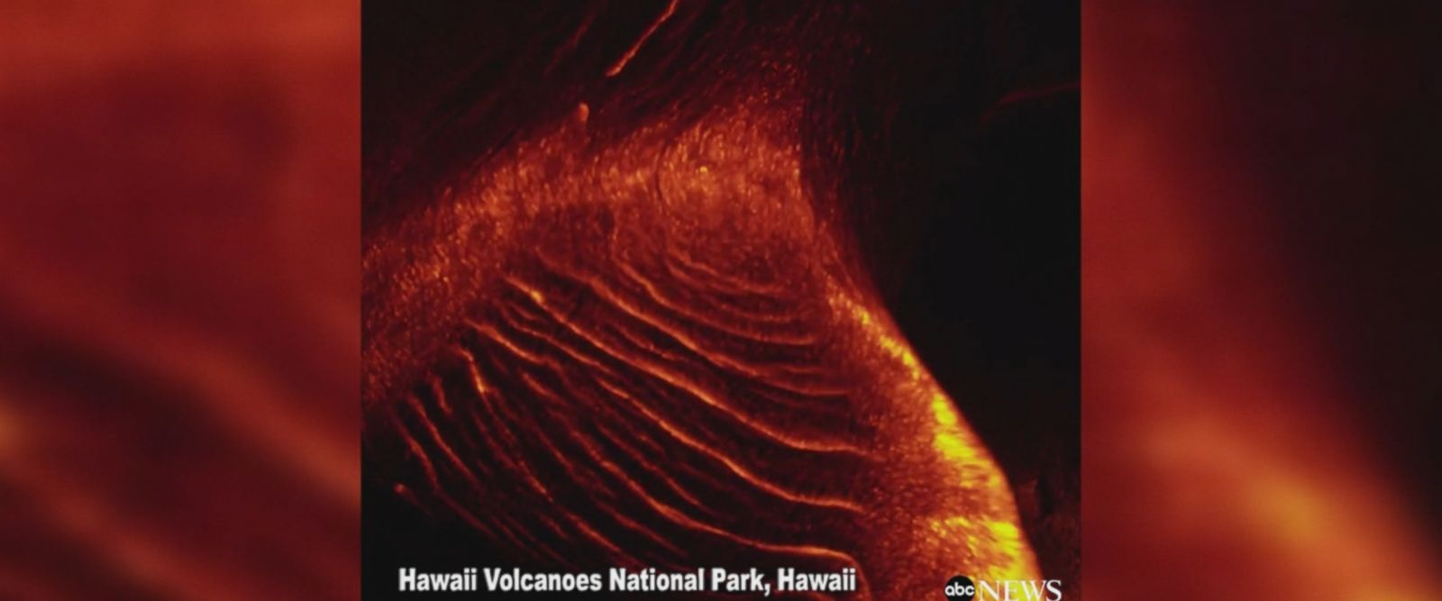 Glowing lava lights up the night at Hawaii Volcanoes National Park.