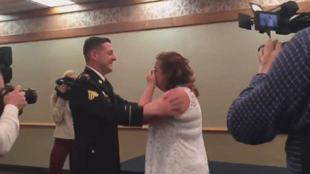 U.S. Army sergeant Dustin Pearson, 29, surprised his mom, Margaret Pearson, after a yearlong deployment.