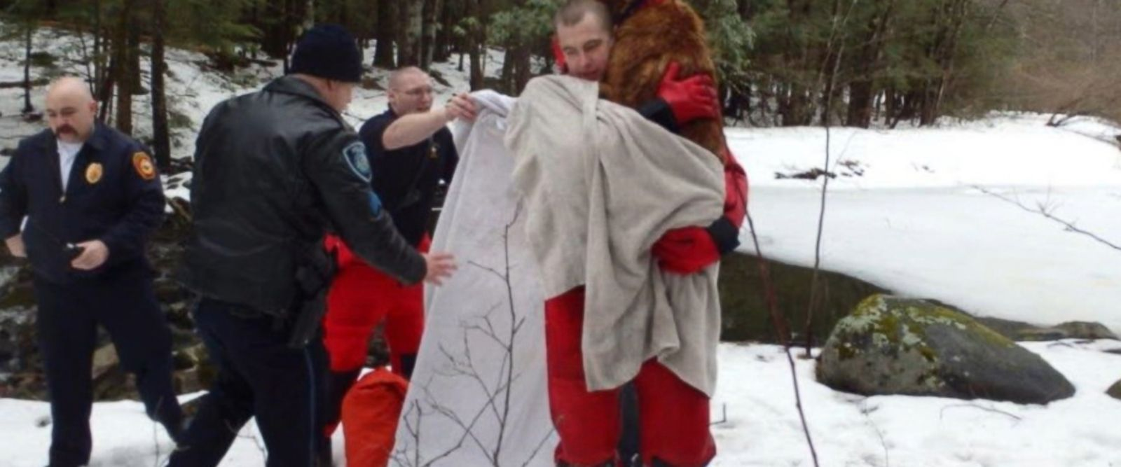 Emmett, a 3-year-old golden retriever, fell into a frozen pond on his owner's New Hampshire property.