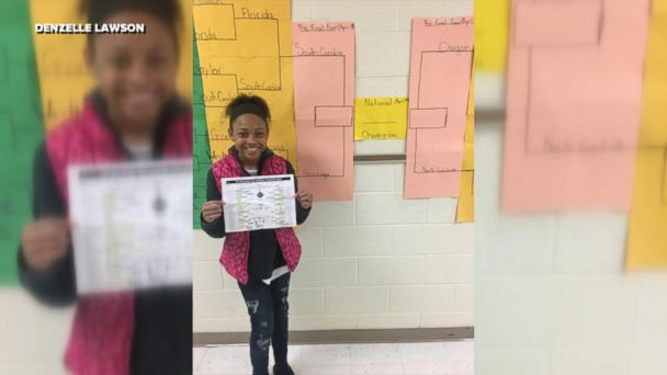 Sasha Anderson, a seventh-grader, correctly picked North Carolina, Oregon, Gonzaga and South Carolina in a competition organized by her math teacher.