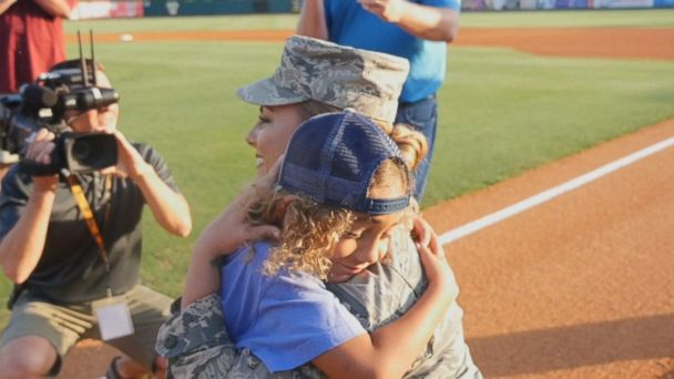 Air Force Staff Sgt. Georgina Walton surprised her son Brody, who was home from deployment at the Charleston RiverDogs game April 20.