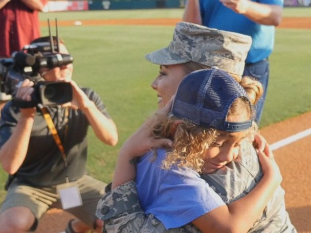 WATCH:  Air Force mom surprises son at minor league ballgame