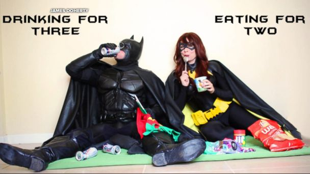 James and Alisha Doherty of Nashville donned their Batman and Batgirl costumes for an epic, super hero-themed pregnancy announcement.