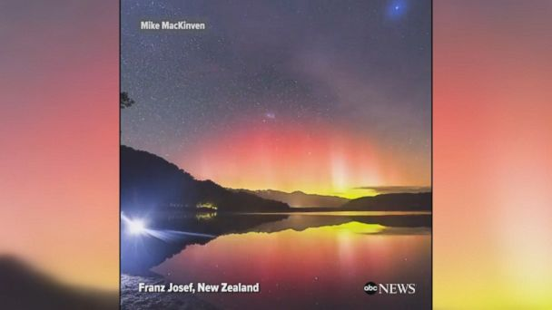 Spectacular video shows the Aurora Australia, also known as the Southern Lights, over Lake Mapourika in New Zealand.