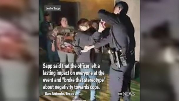 San Antonio police officer shows off his moves at a salsa dance party while responding to a noise complaint.