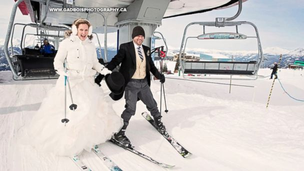 Andrew Leonard and Chela Davison had a ski-themed wedding at Whistler Blackcomb Resort in Canada.