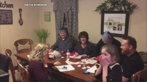 Tabitha Schroeder of Poplar Bluff, Missouri, revealed the good news to her family after being told it would be difficult to get pregnant.