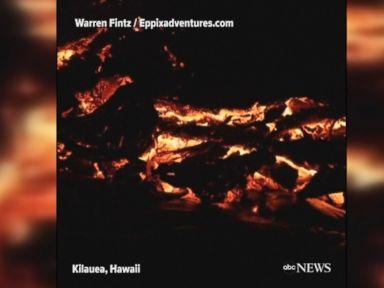 WATCH:  Lava flows down Kilauea volcano at night