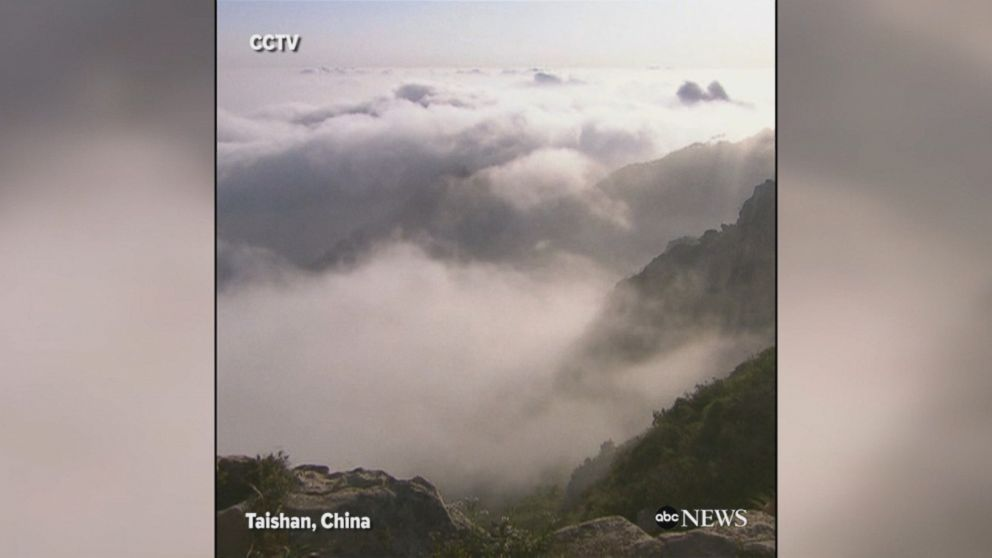 Stunning 'cloud sea' appears at Taishan Mountain in China, blanketing the surrounding landscape.