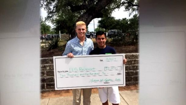 Chase Bradley, 17, a junior at Hyde Park High School in Austin, Texas, gave his $2,500 scholarship to Sergio Garcia, 18.