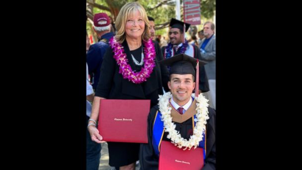 Judy O'Connor was recognized for attending classes at Chapman University in support of her son, Marty O'Connor.