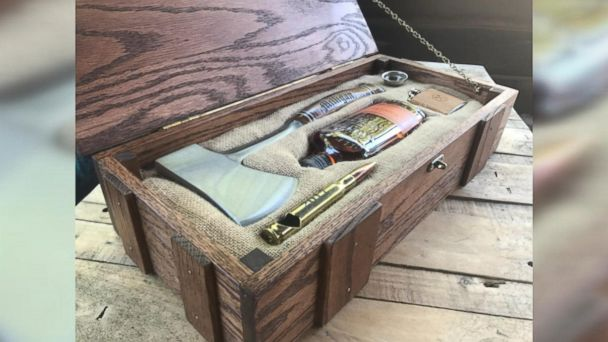 Ryan Johnstone of Los Gatos, California, made DIY oak boxes for his groomsmen filled with personalized hatchets and whiskey.