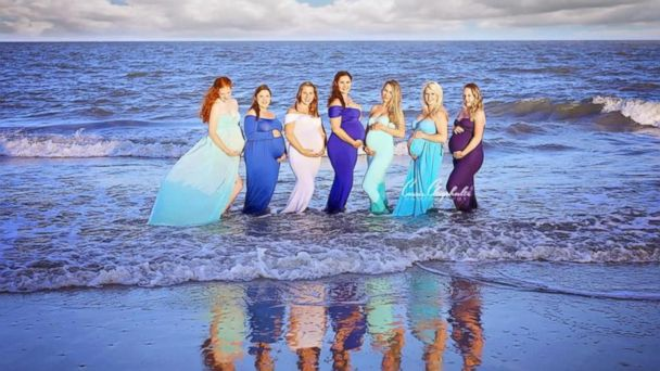 Photographer Cassie Clayshulte organized the photo shoot to highlight 8 women who all got pregnant around the time of Hurricane Matthew, which struck South Carolina in October 2016.
