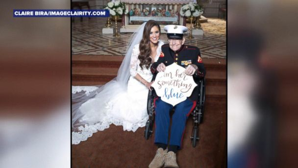 VIDEO; 92-year-old Marine uncle serves as bride's 'something blue'