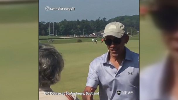 Former President Barack Obama tees off at the Old Course at St. Andrews ahead of a charity event.