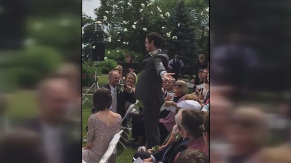 Patrick Casey dropped flower petals as he made his way down the aisle during his cousin Andria's wedding.