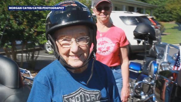 VIDEO: 93-year-old fulfills lifelong dream to ride a Harley-Davidson motorcycle