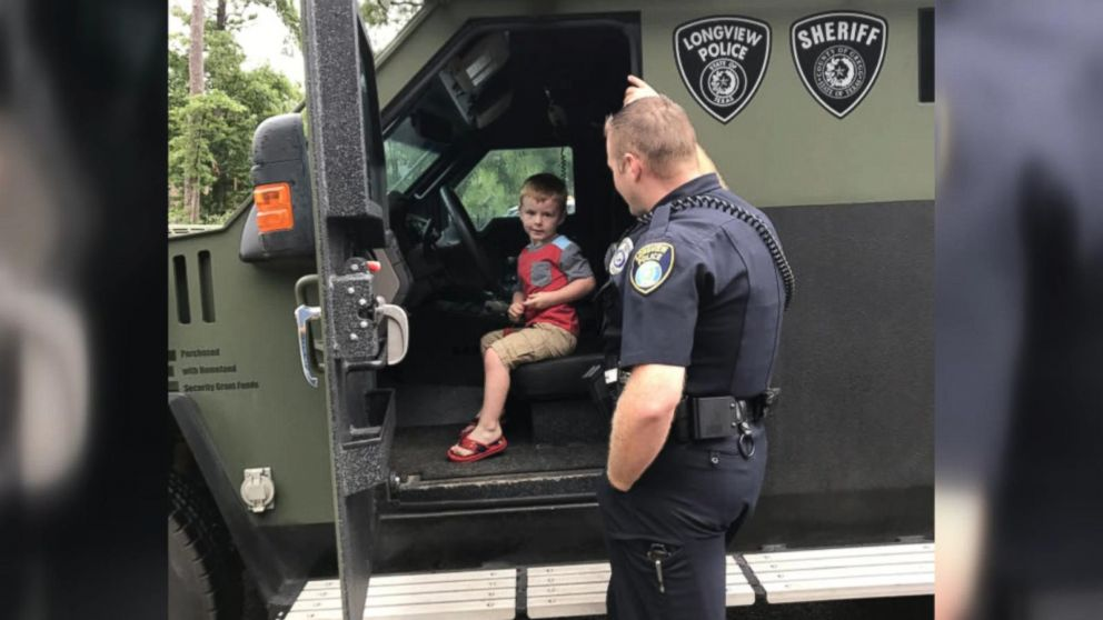 Officers in Longview, Texas, brought a SWAT vehicle and police cars with sirens blazing to Mason Williams' birthday party.
