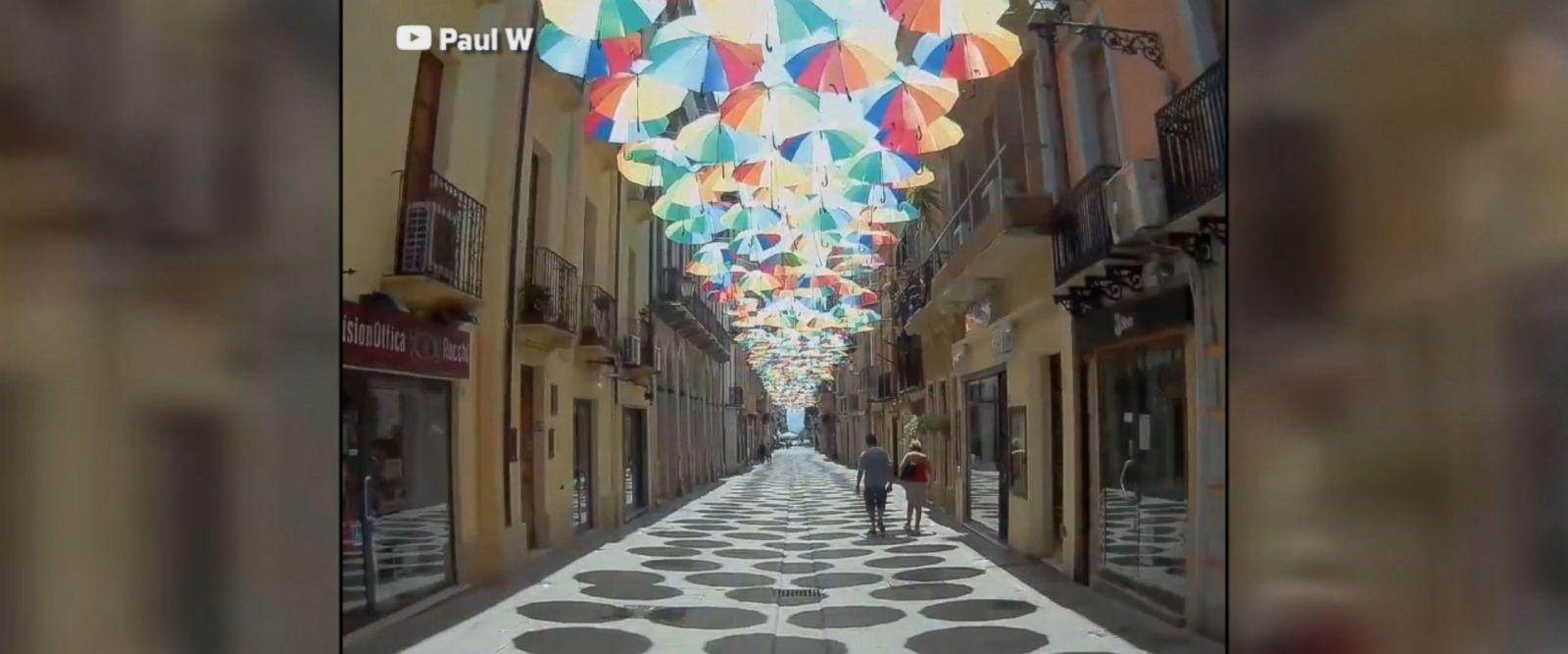 Good Morning America Umbrella : Vibrant umbrella art display dazzles sardinia visitors