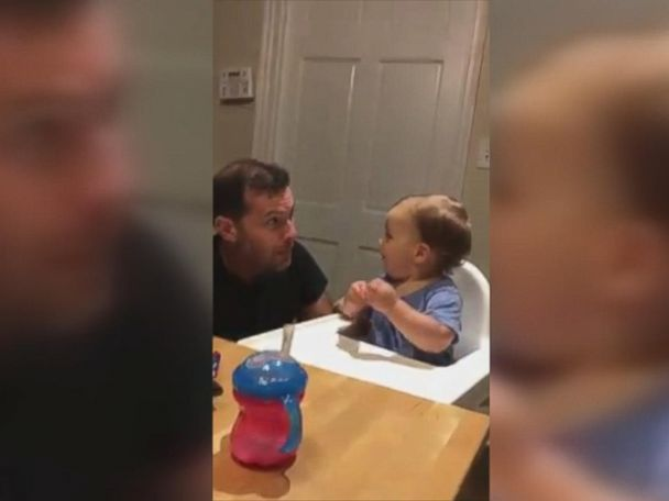 WATCH:  Baby boy can't wait for his dad to drop the beat